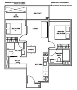 royalgreen-floor-plan-2-bedroom-study-bs1-singapore
